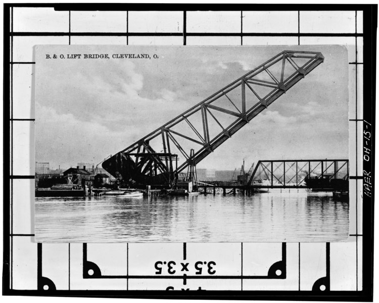 File:Post card view of the bridge, c. 1910. Post card courtesy Carol Poh Miller. Photocopy by Berni Rich, Score Photographers Cleveland, OH - B and O Railroad Bridge Number 464, HAER OHIO,18-CLEV,27-1.tif