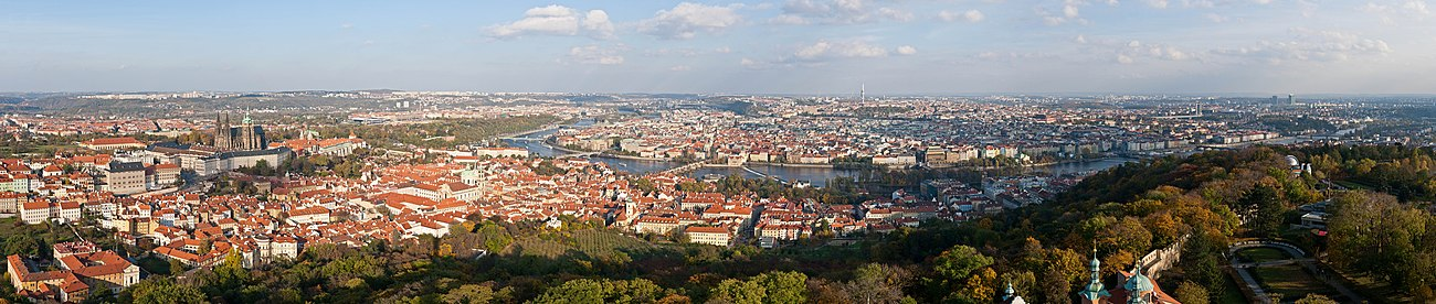 Panoramic view of Prague from Petřín Tower