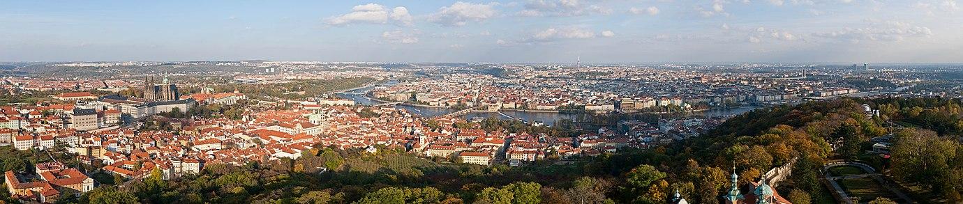 Panoramic view of Prague from Petřín Tower