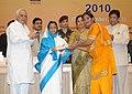 Pratibha Devisingh Patil presenting the National Award for Teacher-2010 to Smt. Simirat Kaur, Punjab, on the occasion of the 'Teacher's Day', in New Delhi. The Union Minister of Human Resource Development, Shri Kapil Sibal.jpg