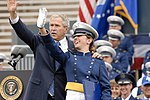 President George W. Bush waves to the family of newly-graduated 2nd Lt. Katie Newkirk during the U.S. Air Force Academy Graduation Ceremony.jpg