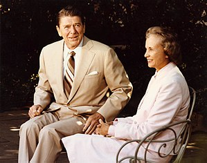 Sandra Day O'Connor - Supreme Court Justice-nominee Sandra Day O'Connor talks with President Ronald Reagan outside the White House, July 15, 1981.