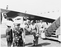 President Truman greets the President of Venezuela, Romulo Gallegos. They are under the presidential airplane, the... - NARA - 199808.tif