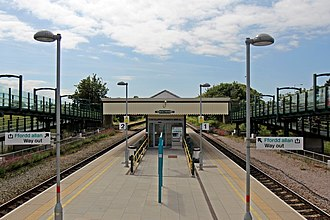 Prestatyn railway station - Prestatyn viewed from the new footbridge