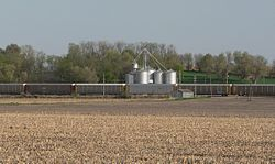Grain elevator and train in Preston