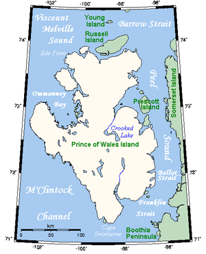 Franklin Strait - Prince of Wales Island with Franklin Strait to the southeast, Canada.