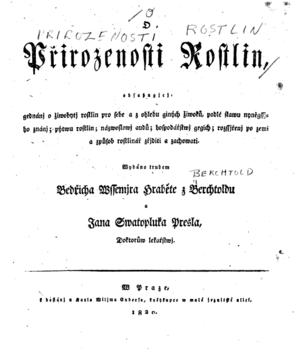 O Prirozenosti Rostlin - Title page 1820