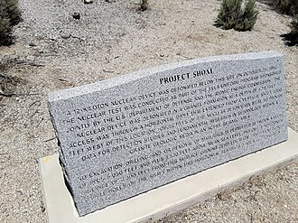 Project Shoal - Marker atop Project Shoal site in Nevada.