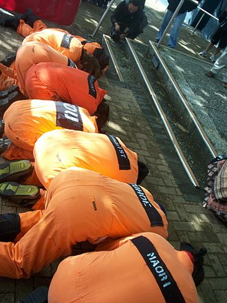 2007 New Zealand police raids - Protesters dressed as terrorism detainees outside the Labour Party conference, 3 November 2007.