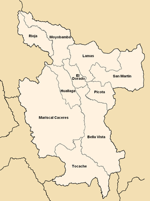 San Martín Region - Map of the San Martín region showing its provinces