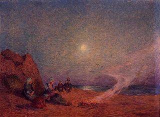 Le Pouldu, Femmes sur la plage près d'un feu