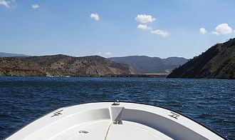 Pyramid Lake (Los Angeles County, California) - View south towards Pyramid Dam from boat.