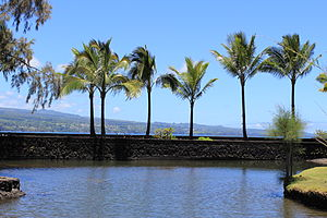 Liliuokalani Park and Gardens - View looking across Hilo Bay towards the Hamakua Coast