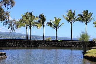 Liliuokalani Park and Gardens - View looking across Hilo Bay towards the Hamakua Coast