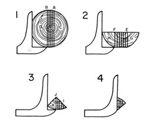 Quarter sawing - Diagram of quarter sawing logs over 19 inches