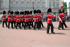 Military parade - The Grenadier Guards on parade outside Buckingham Palace, London