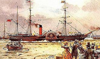 Cunard Line - Britannia of 1840 (1150 GRT), the first Cunard liner built for the transatlantic service