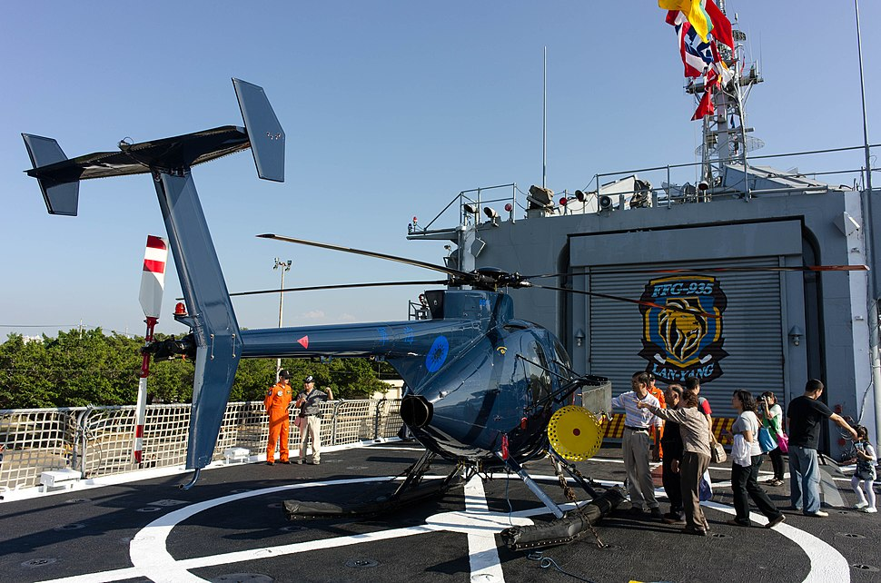 ROCN Hughes 500 6910 Carried on Lan Yang (FFG-935) Helicopter Deck Rear Right View 20141123