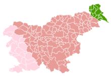 L'attuale Slovenia: In rosa la parte della Venezia Giulia entrata in Italia nel 1919 e rimasta fino al 1947.