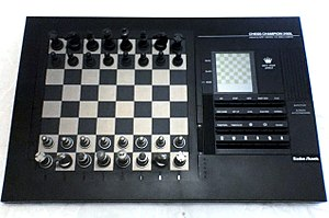 Chess tournament - A pressure-sensory chess computer with an LCD screen from the 1990s