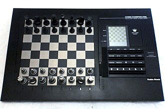 Computer chess - 1990s pressure-sensory chess computer with LCD screen