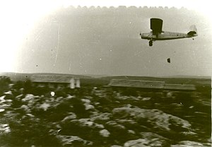 Sherut Avir - Sherut Avir RWD-13 VQ-PAL dropping supplies at Yehiam, January 1948