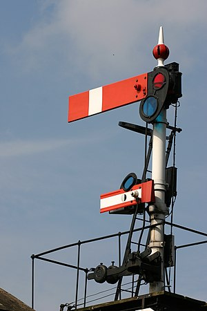 Railway signalling - British lower-quadrant semaphore stop signal (absolute) with subsidiary arm (permissive) below