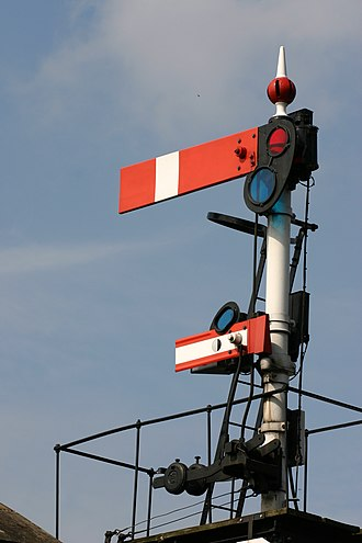 Railway signal - A British lower-quadrant semaphore stop signal with subsidiary arm below