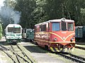 Railcar M27-001 steam locomotive U46-101 and diesel locomotive T47.JPG