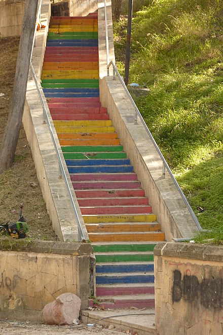 Street art in Kyrenia: steps painted in rainbow colours Rainbow steps in Kyrenia.jpg