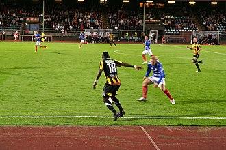 Åtvidabergs FF - Åtvidaberg playing a game against BK Häcken in the 2012 Allsvenskan.