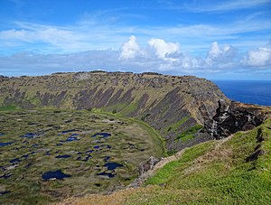 Rano Kau - View of Rano Kau from near Orongo, showing a gap at the southern end of the crater wall