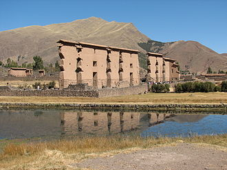 Canchis Province - The Inca ruins in Raqch'i at the Willkanuta River in the Canchis Province are a common tourist attraction on the road between Cusco and Puno.