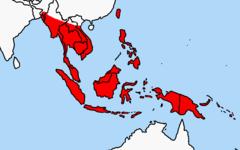 תפוצת החולדה הפולינזית בדרום מזרח אסיה