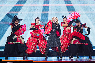 Bitch I'm Madonna - Madonna and her dancers perform the track on the Rebel Heart Tour, displaying the geisha inspired costumes and the Japanese war fans.