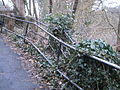 Redundant second railing additional to historic unstable fence in Marburg above Wilhelm-Roser-Strasse, Grassenberg 2016-03-05.JPG
