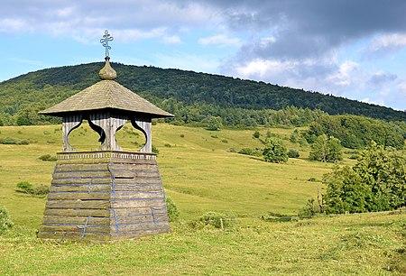 Wooden bell tower in Regietów, Poland