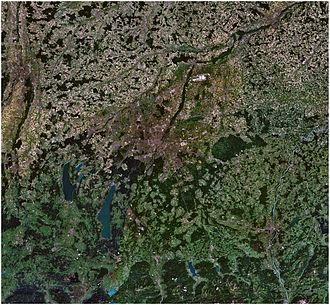 Munich Metropolitan Region - Satellite view of the Munich Larger Urban Zone