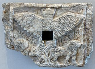 Anzû (mythology) - Alabaster votive relief of Ur-Nanshe, king of Lagash, showing Anzû as a lion-headed eagle, ca. 2550–2500 BC; found at Tell Telloh the ancient city of Girsu, (Louvre)