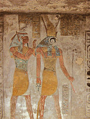 The Egyptian gods Geb (left; also transliterated Seb)—one of the principal characters in the El-Arish Inscription—and Horus (right)