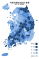 Republic of Korea local election 2014 turnout (city, county or ward) zh-hant.png