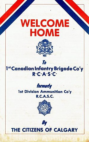 41 Service Battalion - Return of 1 Canadian Infantry Brigade Coy, RCASC to Calgary