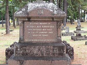Richard Ash Kingsford - Headstone for Richard Ash Kingsford in McLeod Street pioneer cemetery, Cairns
