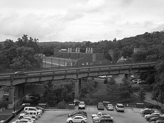 Athens, Ohio - Richland Avenue bridge, spanning portions of the city with the Western Hills in the background