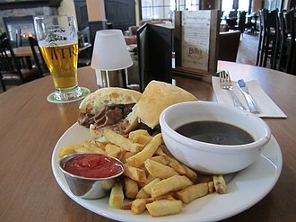 French dip - Roast beef dip au jus, with french fries