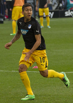 Roberto Firmino - Firmino playing for 1899 Hoffenheim in 2014.