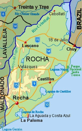 Rocha Department - Topographic map of Rocha Department showing main populated places and roads