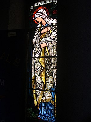Humility - Representation of Humility in a stained-glass window, by Edward Burne-Jones.