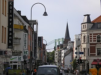 Rodenkirchen - Hauptstraße with Cologne Rodenkirchen Bridge in the background