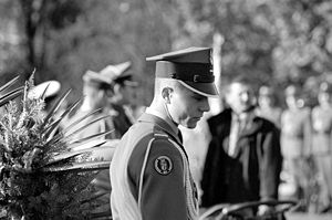 Soldier of the Polish Army Honour Guard Company wearing a rogatywka cap at the Tomb of the Unknown Soldier in Warsaw at Saxon Square